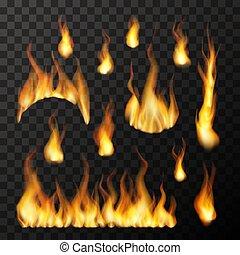 differente, set, fiamme, fuoco, luminoso, trasparente