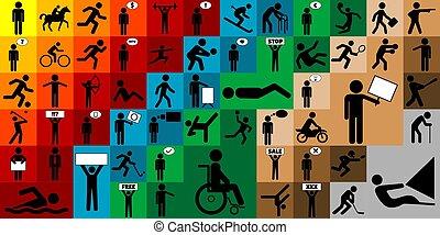 differente, set, figure, bastone, icona