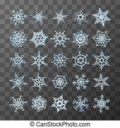differente, set, fiocchi neve, congelato, fondo, trasparente