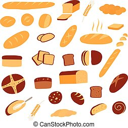 differente, set, generi, bread., icons., panetteria, vettore, prodotti, v