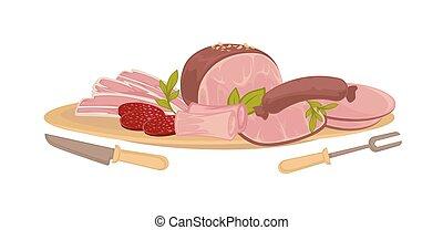 differente, set, generi, carne