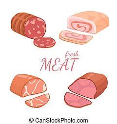 differente, set, generi, meat., illustrazione, vettore, fondo, bianco
