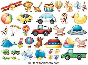 differente, set, giocattoli
