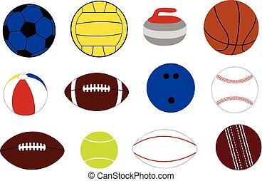 differente, set, gioco, palle