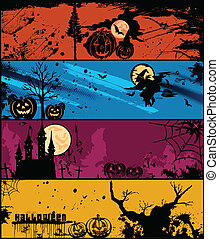 differente, set, halloween, vettore, colors., bandiere