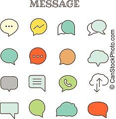 differente, set, icone, colorare, vettore, discorso, linea sottile, bolle