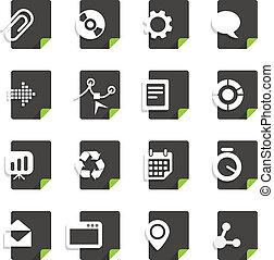 differente, set, icone, isolato, file, bianco, tipi