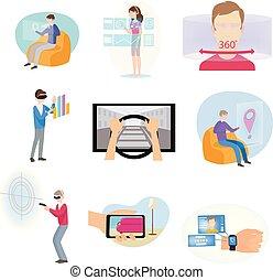 differente, set, icone, moderno, realtà virtuale, o, augmented