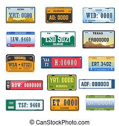 differente, set, icone, paese, numero trascrizione, collezione, vettore, bandiere, veicolo, piastre