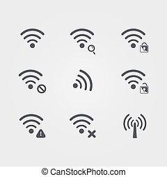 differente, set, icone, wifi, fili, vettore, nero