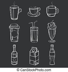 differente, set, illustration., bevande, blackboard., mano, vettore, disegnato