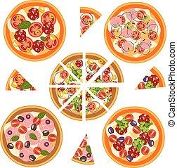 differente, set, ingredients., pizza