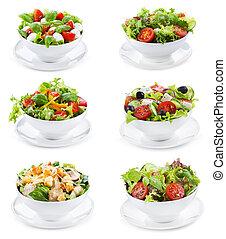 differente, set, insalate