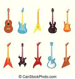 differente, set, instruments., elettrico, -, illustrazione, chitarra, vettore, acustico, musicale, cordicella