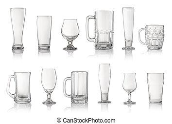 differente, set, isolato, birra, bianco, occhiali