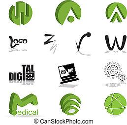 differente, set, logotipo, tipo