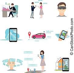 differente, set, moderno, realtà, congegno, usando, augmented