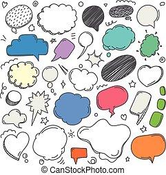 differente, set, nubi, collection., stile, vettore, discorso, schizzo, doodles