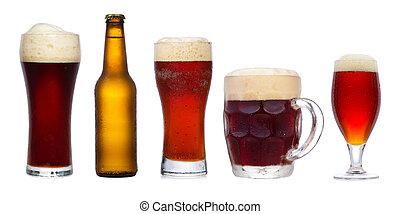 differente, set, occhiali, birra