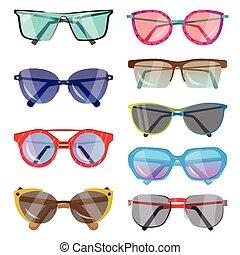 differente, set, occhiali da sole, moda, forme, glasses., colori