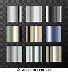 differente, set, pendenza, metalli, grande, swatches, fondo, trasparente