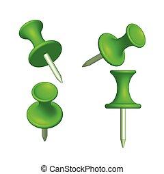 differente, set, perno, illustrazione, thumbtack, verde, vista, vettore
