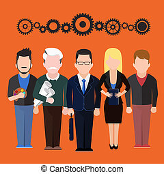 differente, set, persone, professioni, silhouette, caratteri