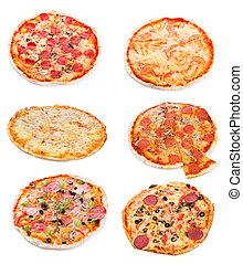 differente, set, pizza