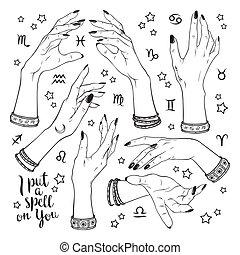 differente, set, pose, streghe, mani