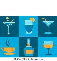 differente, set, quattro, whisky, bottiglia, icona, occhiali