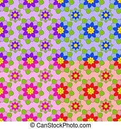differente, set, rosa, modelli, viola, foglie, seamless, arancia, colori, verde, fiori, blu