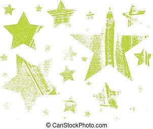 differente, set, scarabocchiare, patterns., icons., mano, stars., vettore, stelle, disegnato
