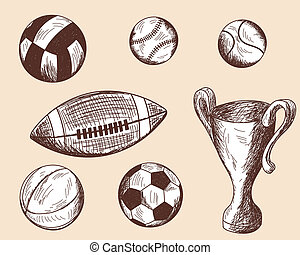 differente, set, schizzo, palle
