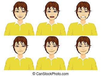 differente, set, sei, faccia, adolescente, espressioni
