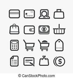 differente, set, shopping, icone, corners., elementi, disegno, arrotondato