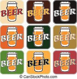 differente, set, sottobicchiere, birra, vettore, fondo, ...