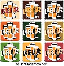 differente, set, sottobicchiere, birra, vettore, fondo,...