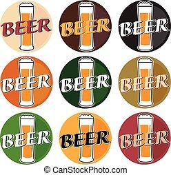 differente, set, sottobicchiere, birra, vettore, fondo, occhiali