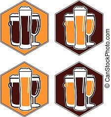 differente, set, sottobicchiere, birra, vettore, occhiali