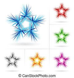 differente, set, stelle, icone