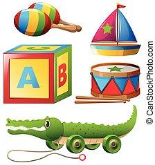 differente, set, tipi, giocattoli