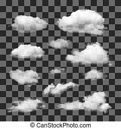 differente, set, trasparente, clouds.