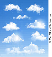 differente, set, trasparente, vector., clouds.