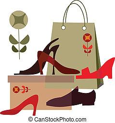 differente, shopping, scarpe, illustrazione, borsa, scarpa, shopping;