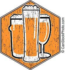 differente, sottobicchiere, graffio, birra, vettore, ...