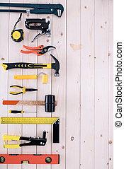 differente, spazio, cima legno, tabletop, copia, attrezzi, vista