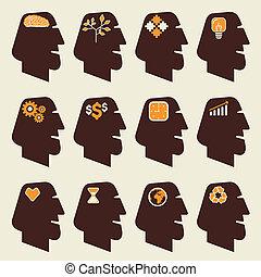 differente, testa, umano, icona