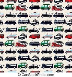 differente, tipi, automobile, seamless, modello