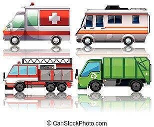 differente, tipi, camion