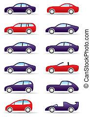 differente, tipi, di, moderno, automobili